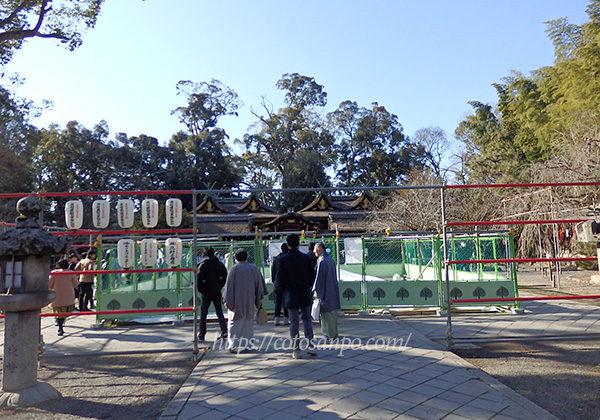 平野神社 拝殿 倒壊